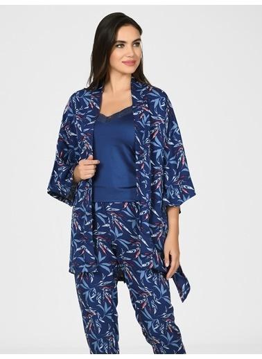 Nbb Yaprak Desenli 3Lü Pijama Sabahlık Takım 67012 Lacivert